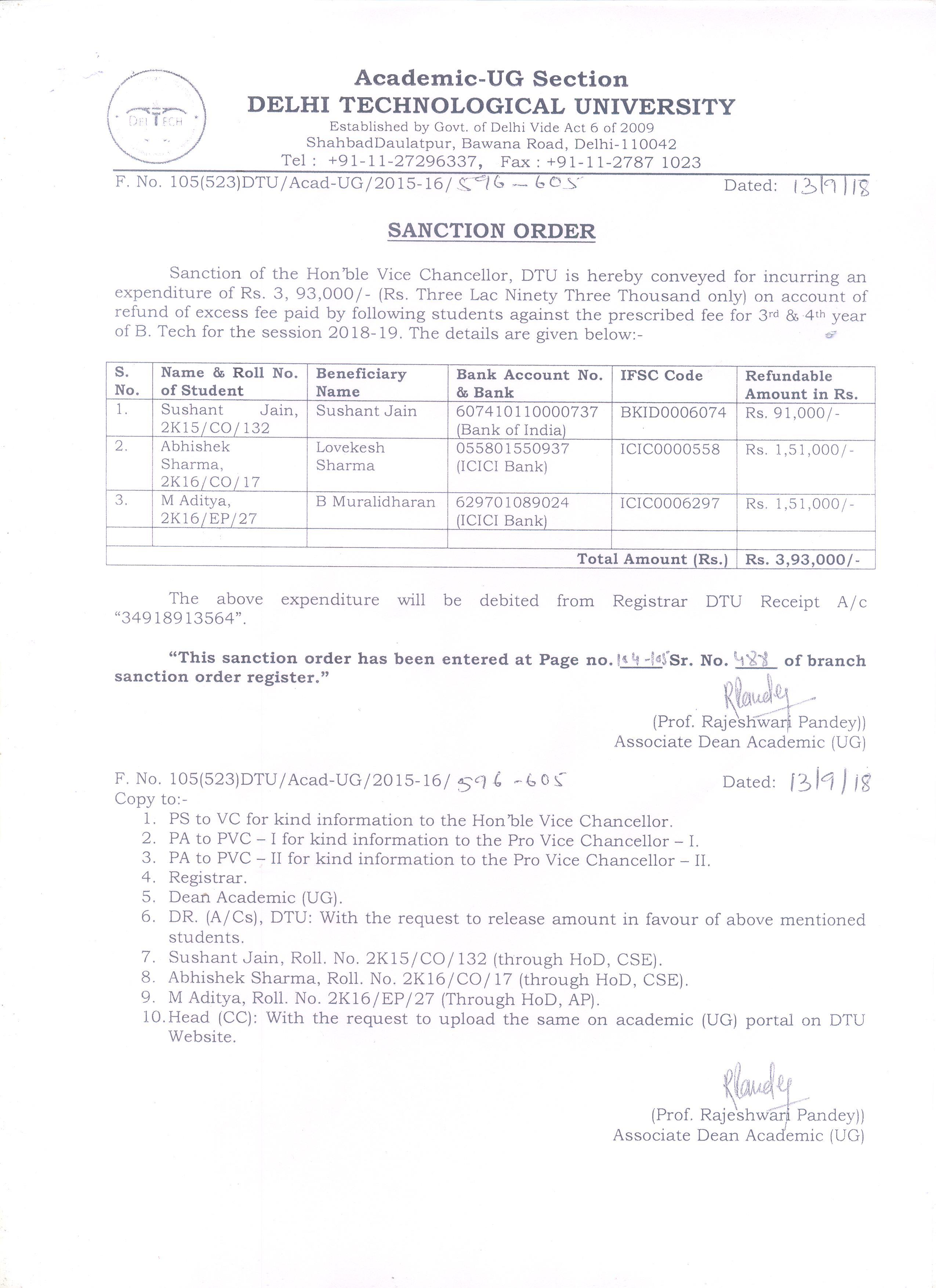 Academic - Notices | Delhi Technological University